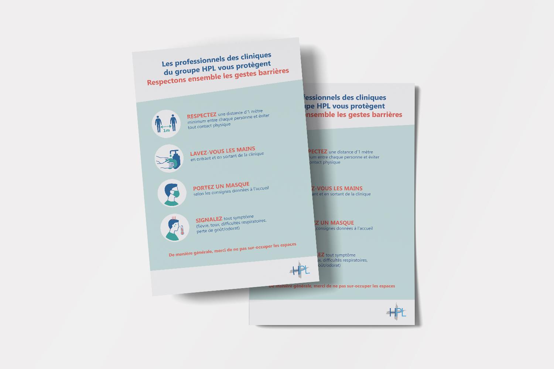 Studio Eckla - Aurélie Marcellak | Affiche pour les gestes barrières contre la Covid 19 du Groupe HPL